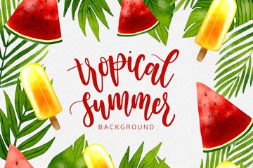 彩色夏季热带水果和树叶矢量图