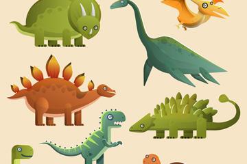 8款卡通恐龙设计矢量素材