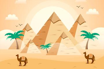 创意埃及沙漠金字塔风景矢量图