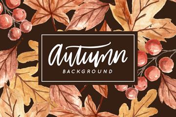彩绘秋季树叶和浆果矢量素材