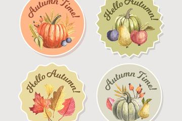 4款彩绘秋季元素标签矢量图