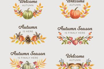 6款彩绘秋季标签矢量素材