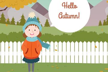 创意秋季花园里的女孩矢量素材