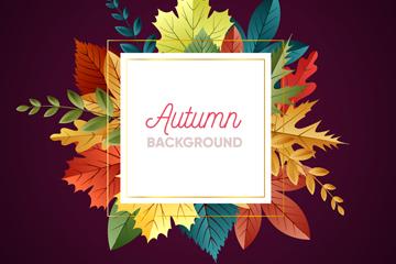 彩色秋季树叶框架设计矢量素材