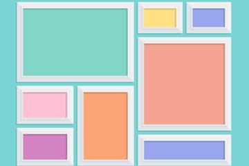 彩色白色边相框组合矢量图