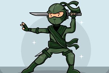 卡通舞刀忍者设计矢量素材
