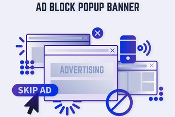 蓝色弹窗广告拦截设计矢量素材
