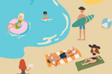 ��意海�度假人群矢量素材