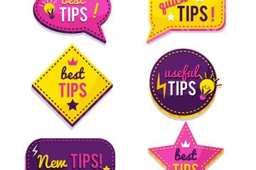 6款紫色和黄色小技巧标签矢量图