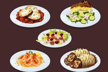 5款美味盘子里的菜肴矢量素材