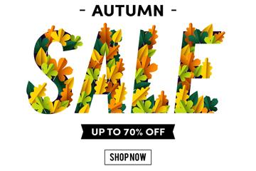 创意秋季树叶销售招贴画矢量图