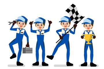 4个创意方程式赛车手矢量素材