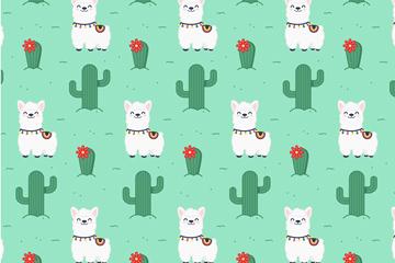 白色微笑羊�和仙人掌�o�p背景矢量�D