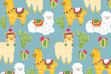 ��意羊�和仙人掌�o�p背景矢量�D