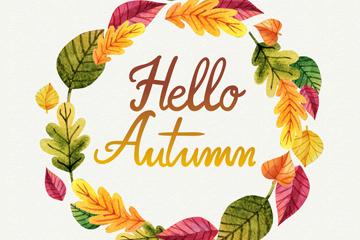 彩色你好秋季树叶花环矢量图