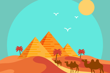 美丽沙漠金字塔和骆驼风景矢量素