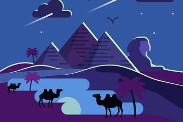 美丽夜晚沙漠风景矢量素材