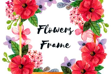 美��彩�L花卉框架矢量素材