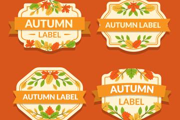 4款彩色秋季标签设计矢量素材