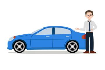 蓝色轿车和销售男子矢量图