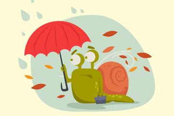 卡通秋季撑伞的蜗牛矢量图