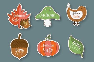 6款彩色秋季元素贴纸矢量图