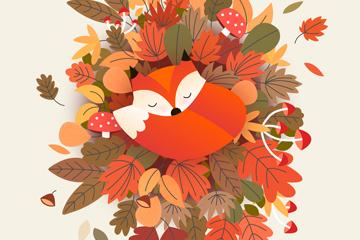 彩色秋季落叶堆上睡着的狐狸矢量图