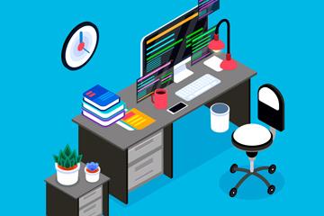 立体私人办公桌设计矢量素材