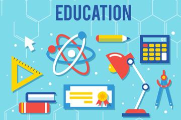 9款彩色教育元素设计矢量素材
