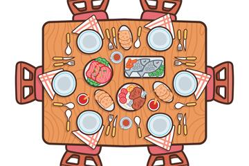 创意摆满菜肴的餐桌俯视图矢量素