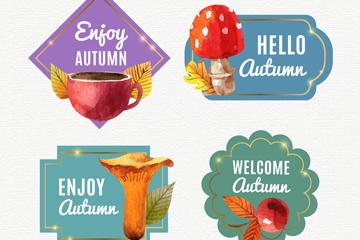 4款水彩绘秋季元素标签矢量图