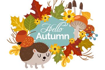 可爱秋季刺猬和花草框架矢量图