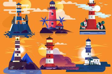 6款卡通岛屿灯塔设计矢量素材