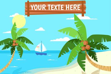 美丽大海椰子树风景矢量素材