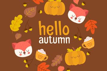 彩色秋季元素组合圆环矢量素材