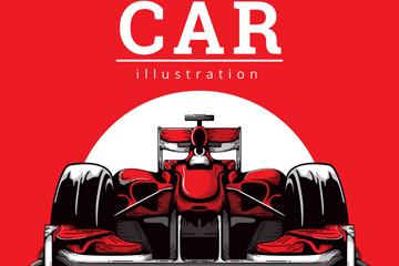 时尚红色赛车设计矢量素材