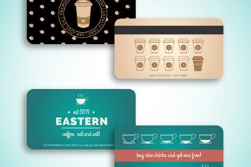 2款��意咖啡�^�e分卡正反面矢量�D