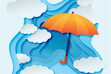��意云朵和雨�慵糍N��矢量�D