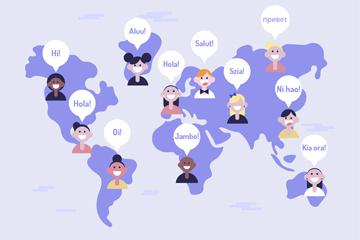 创意世界地图上的各国人物头像矢量图