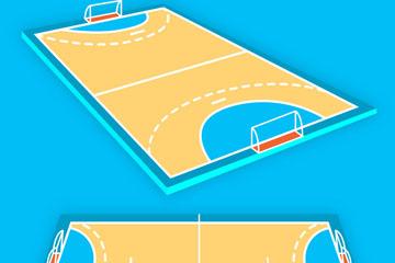 2款创意手球场设计矢量素材
