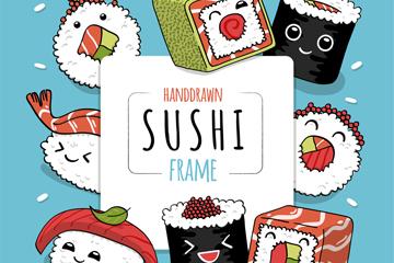 手绘可爱表情寿司框架矢量素材
