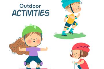 3个可爱户外运动儿童矢量素材