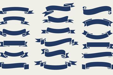 18款深蓝色丝带条幅设计矢量图