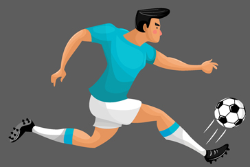 ��意奔跑的足球�x手矢量素材
