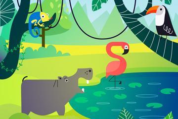 可爱森林池塘动物矢量素材