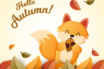 创意秋季落叶中的狐狸矢量图