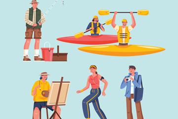 6款时尚户外运动人物矢量图