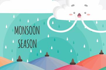 彩绘雨季云朵下的雨伞矢量图