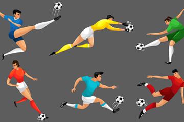 6款动感足球运动员矢量素材