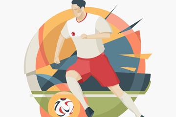 抽象踢足球�\��T矢量素材